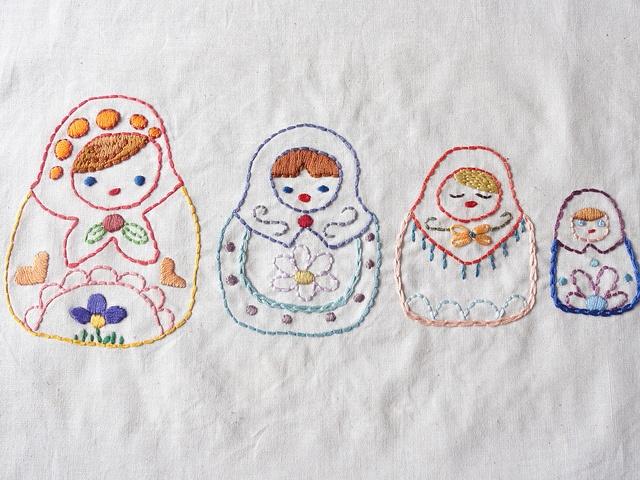 Matryoshka doll embroidery