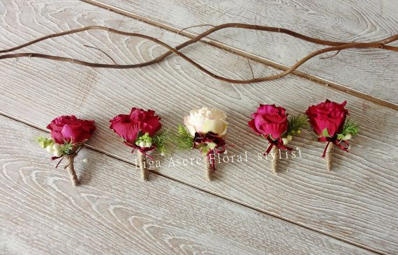 Rustic groom buttonhole Berry coloured rose peach by LigaAsere