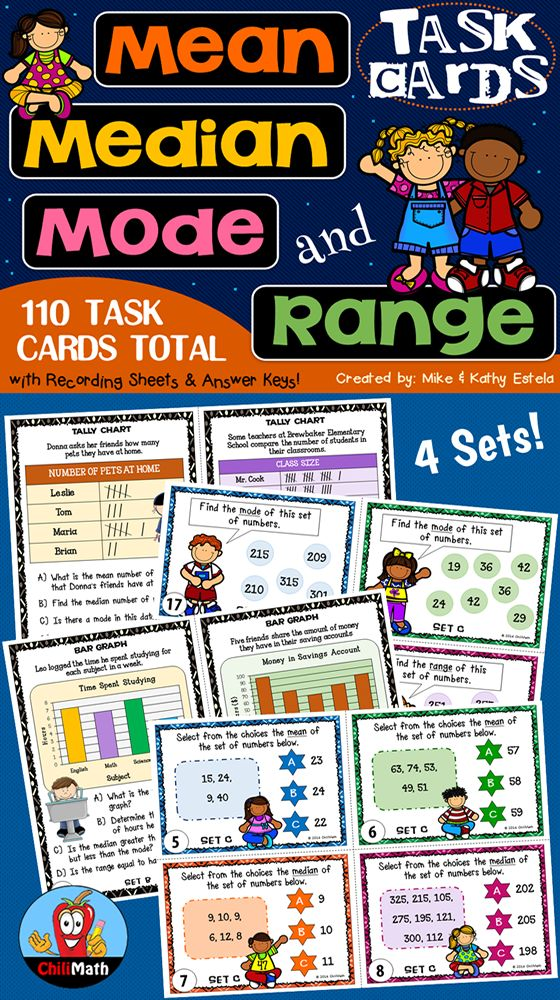 A pack of one hundred ten (110) task cards divided into three (3) sets! This resource is created to help students practice or learn how to find the mean, median, mode, and range of given data sets or graphs. It contains a wide variety of questions designed to address different skill levels of students. $