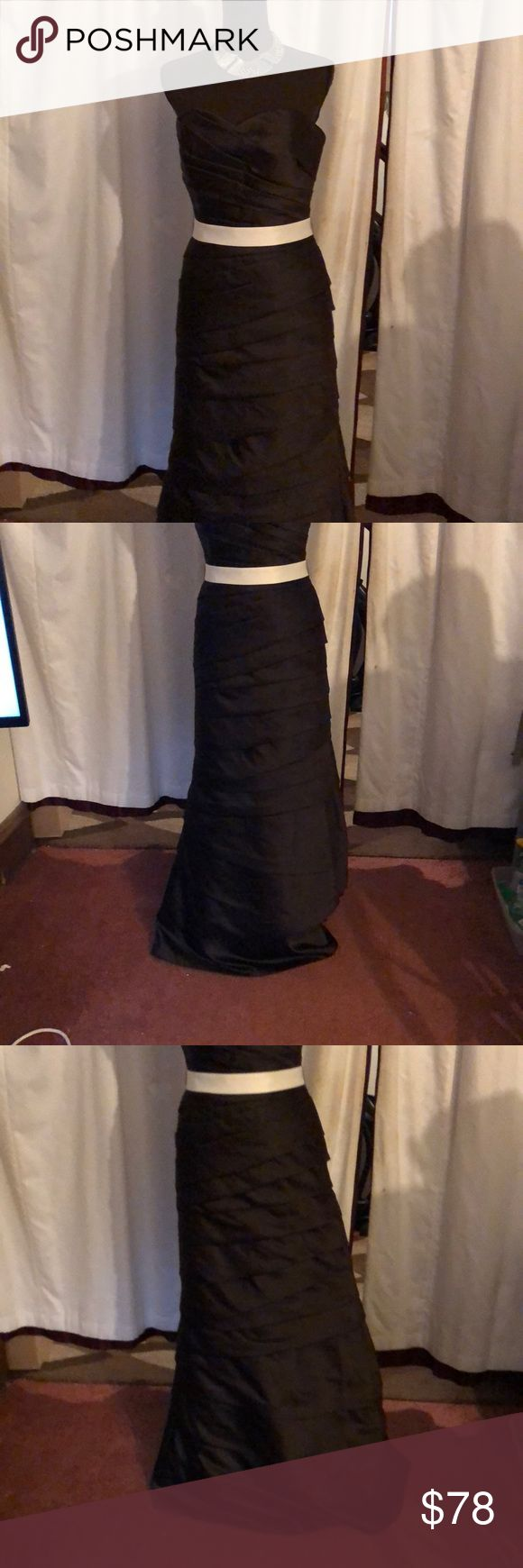 Gorgeous Brown Prom NWT Tiered Gown Wedding sz 10 Saison Blanche Bridesmaids Brown layered fully line gown. Can be worn haltered or with straps  New with tags $278  Length 52 Underarm to underarm 18 Saison Blanche Dresses Wedding