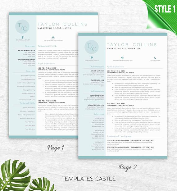 Modern Resume Template for Word, 1-2 Page Resume + Cover Letter + - reference page for a resume