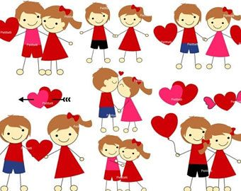 ON SALE Valentine Day Clip Art, Valentine clip art, wedding clip art, Stick Figures Clip Art, instant download clip art
