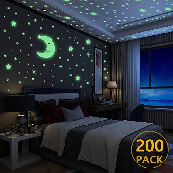 Luminoso Pegatinas De Pared Yosemy Luna Y Estrellas Fluorescente Decoración De Pared Para Do Pegatinas De Pared Decoración De La Habitación Interiores De Casa