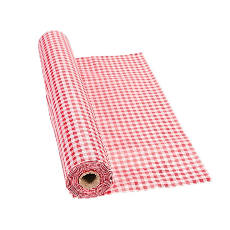 Red Gingham Tablecloth Roll - OrientalTrading.com~ Make sure he asks for tables!
