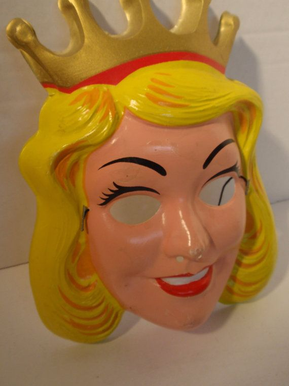 Vintage 1970s BLOND PRINCESS with Gold Crown Halloween Face Mask with Elastic VGC