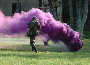 This project produces colored smoke a lot like this USAF smoke grenade. - U.S. Air Force photo/Tech. Sgt. Scott T. Sturkol)