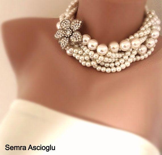 Collar de novia declaración de collar de perla broche de