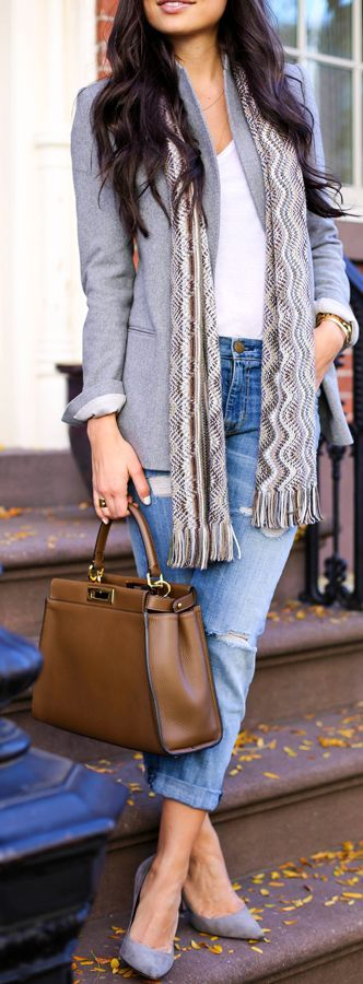 Missoni Scarf Fall Street Style Inspo by With Love From Kat