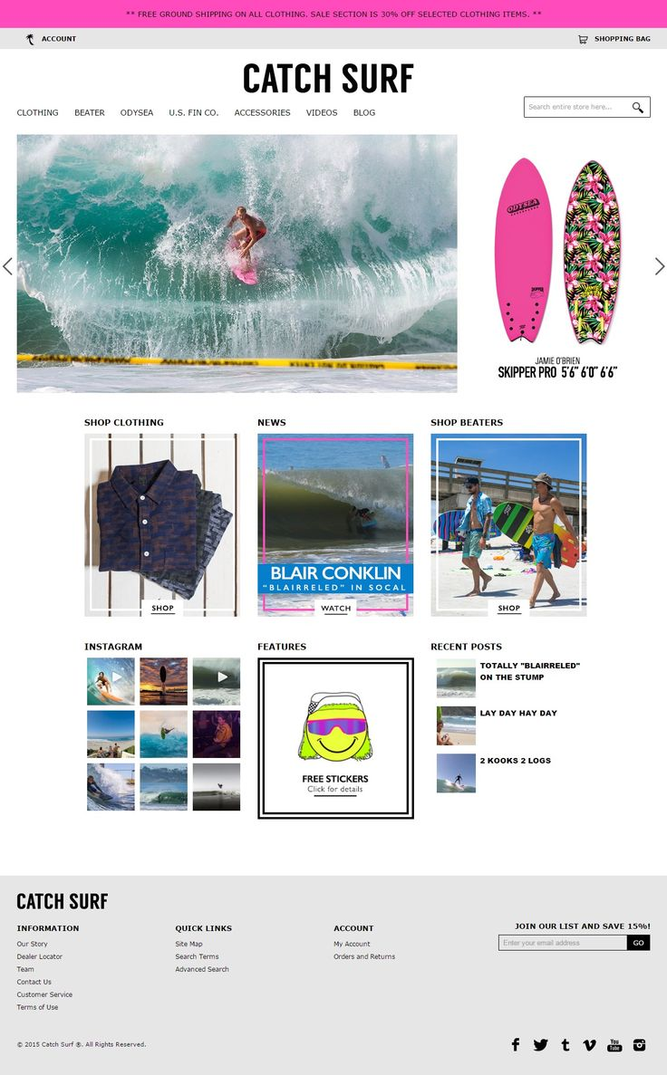 Magento Website design for Catch Surf, beater Board store.  Website Url: http://catchsurf.com/