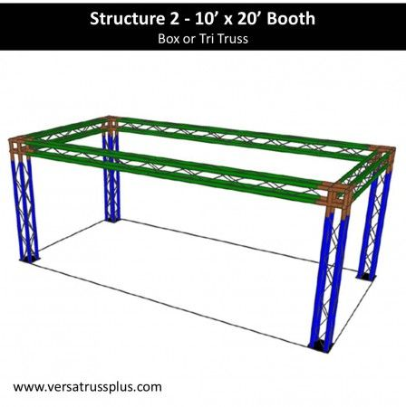 10 x 20 trade show booth kits. Our 10 x 20 exhibit kit comes with all of the truss components and hardware to erect a complete 10 x 20 display booth. Our lightweight aluminum truss 10 x 20 booth kit is economical to purchase, designed for longevity and is completely modular in design allowing you to increase the size of your 10 x 20 exhibit kit at any time.