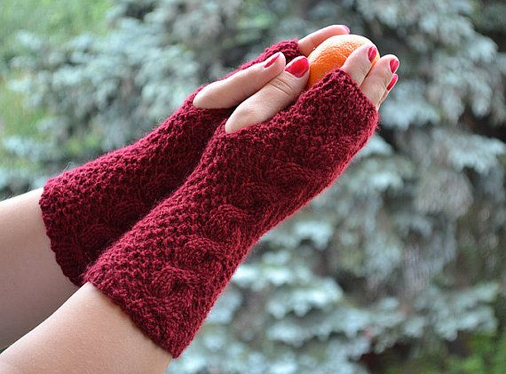 Knitted mittens/gloves dark red  Accessories Autumn by DosiakStyle