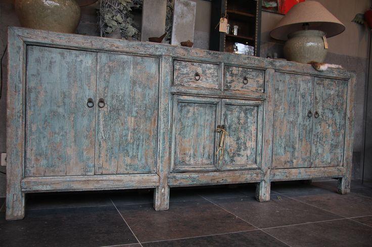 chinees dressoir#blauw dressoir#stoer#uniek