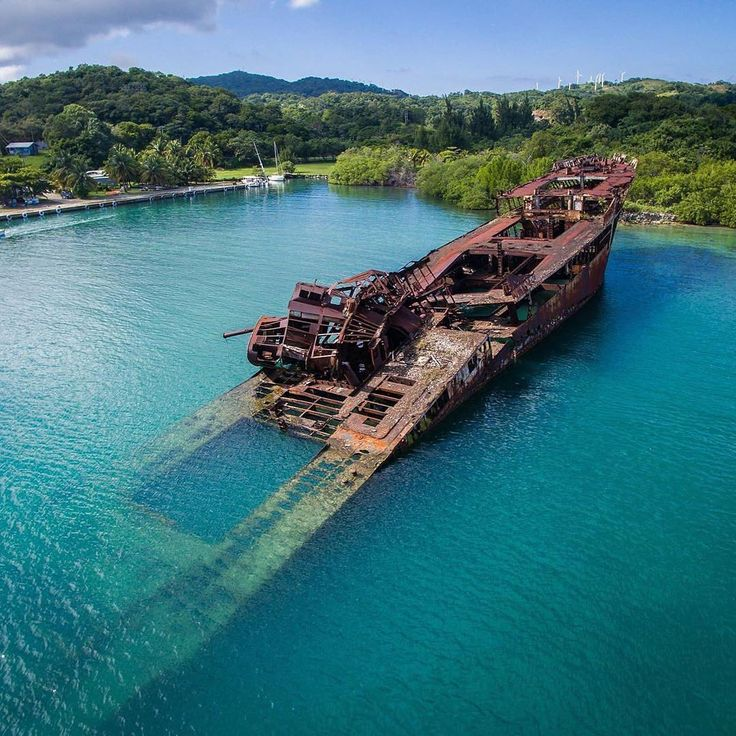 Partially Sunken Ship in Roatan, Honduras.