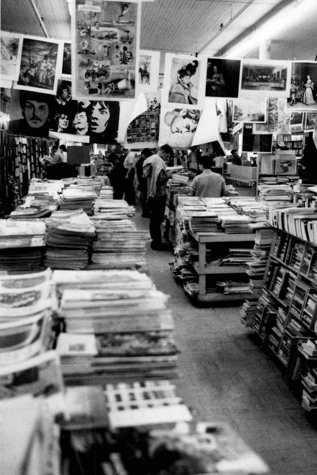 Clinton Book Shop |      Books, magazines and posters jam the Clinton Book Shop on Court Street. The store was torn down to make way for Clinton Square. 1969