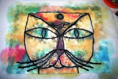 Klee cat using felt and liquid watercolor!