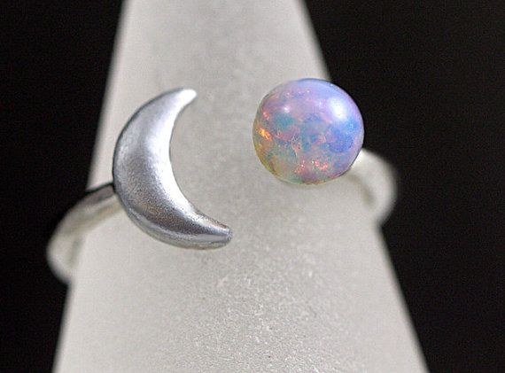 Crescent Moon Ring with genuine vintage fire opal stone. Hand patinated silver. Fully adjustable. Stackable. Gift for her.