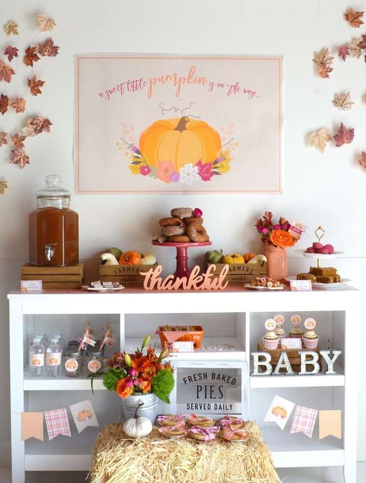 Loving this Little Pumpkin Baby Shower Party! Check out the gorgeous dessert table!! See more party ideas and share yours at CatchMyParty.com #pumpkin #desserttable