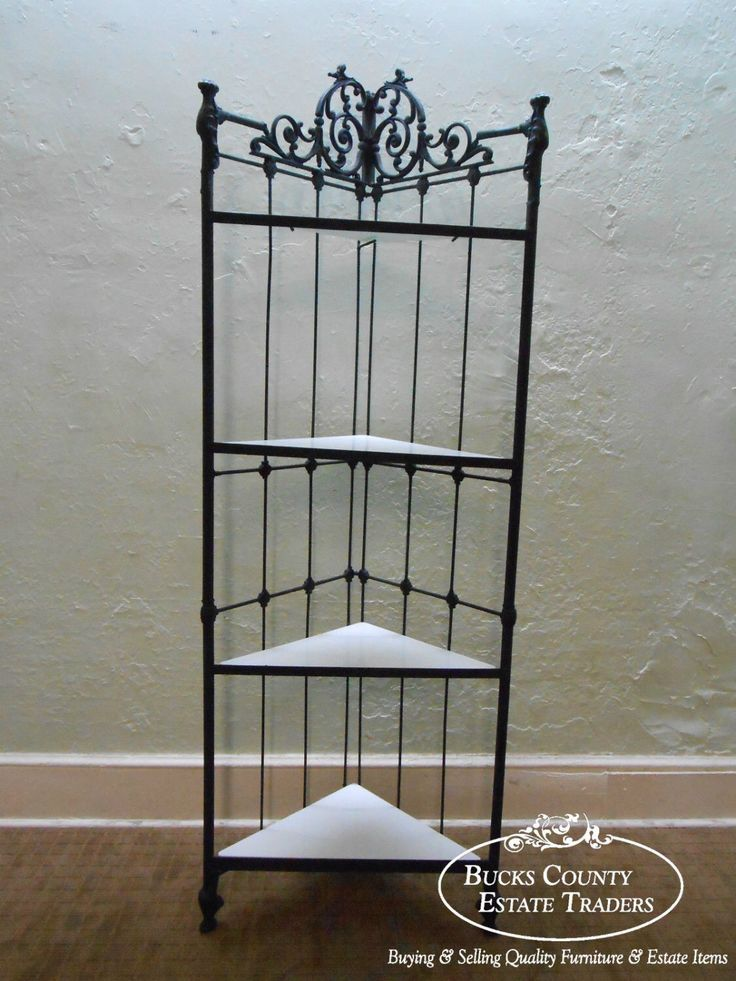 Victorian Style Heavy Iron Corner Etagere Bakers Rack w/ White Milk Glass Shelves by BucksEstateTraders on Etsy https://www.etsy.com/listing/198059134/victorian-style-heavy-iron-corner