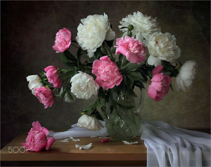 With a bouquet of peonies - null