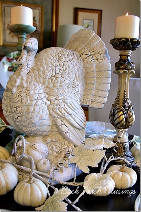 Fall White Table Challenge 2013..stunning! The table is set with Pottery Barn turkey plates, Mikasa French Countryside, Oneida Louisiana stainless flatware, Mikasa stemware, napkins from The White Hare (St Peters Missouri), chargers and rings, HomeGoods.  Pinned from Rock 'N Share #63.