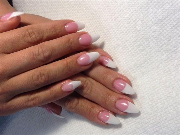 Almond shaped pink & whites by AlysNails - Nail Art Gallery nailartgallery.nailsmag.com by Nails Magazine www.nailsmag.com #nailart