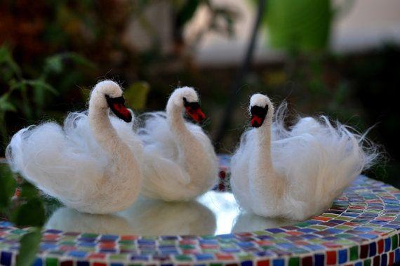 needle felt swans