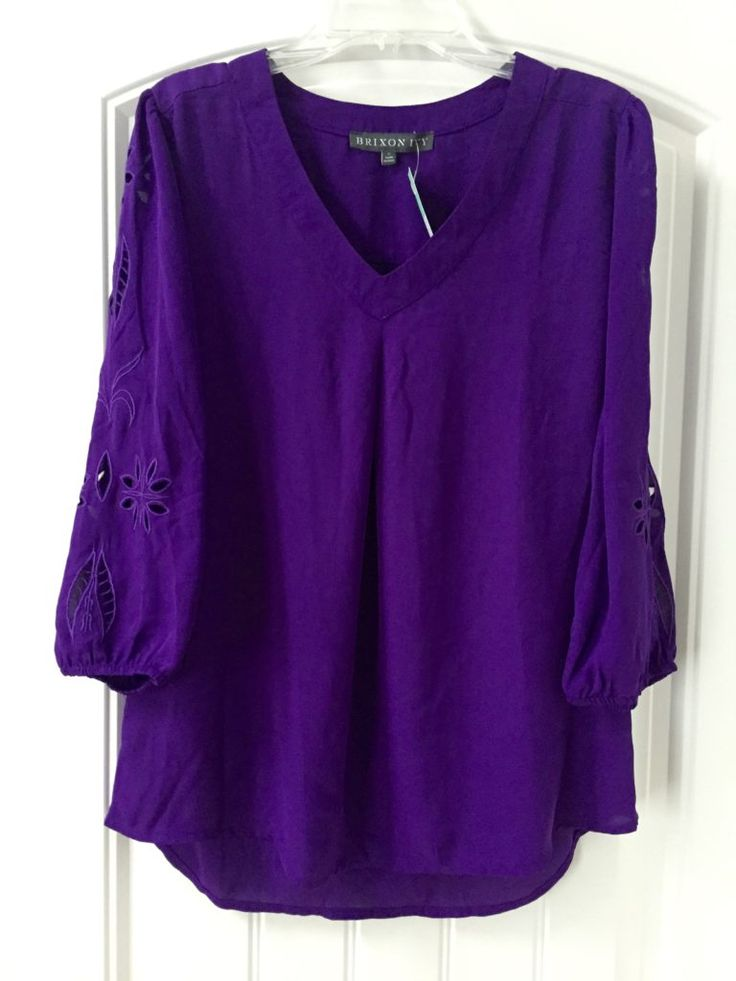 Brixon Ivy Elmar Embroidered Cutout Blouse beautiful purple color.