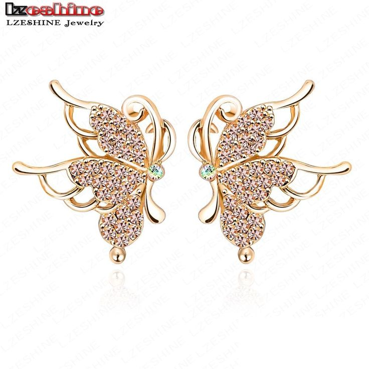 LZESHINE 2016 New Butterfly Stud Earrings Gold Plate Austrian Crystal SWA Element Insect  Earrings For Women Brincos ER0075