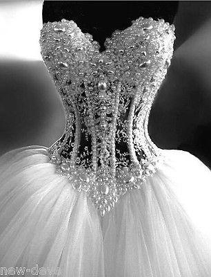 Linda Pérola Branca Strass Brilhante. vestidos de casamento vestido de baile 2-18 Personalize