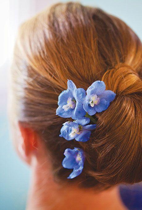 Beautiful blue delphinium hair flowers