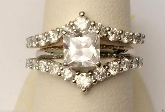 14k Yellow Gold 1ct Prong Set Solitaire Enhancer Diamonds Ring Chevron Guard Wrap by RG&D