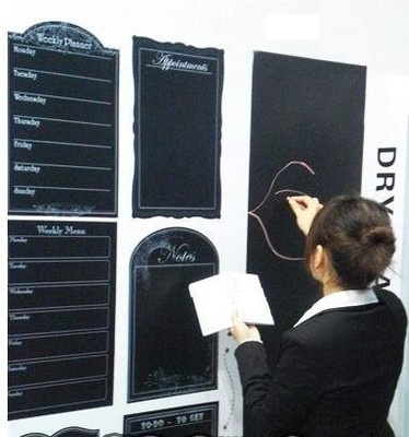 These blackboard sticker are really easy to apply on walls, refrigerators or kitchen cabinets. Just peel off the backing and apply to clean smooth surface. This blackboard are really good idea to safe space without mess. Can be used Indoors and outdoors.  $6.79