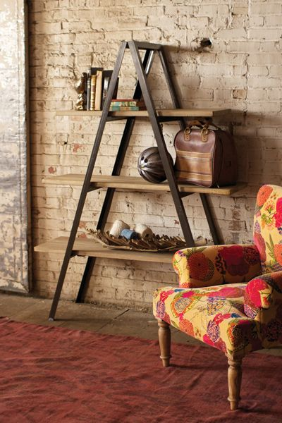 folding metal a-frame shelving unit with 3 wooden shelves  $795.00