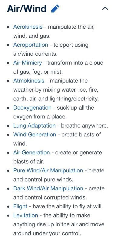Magical powers related to Air/Wind. Missing a fart related power, though :D