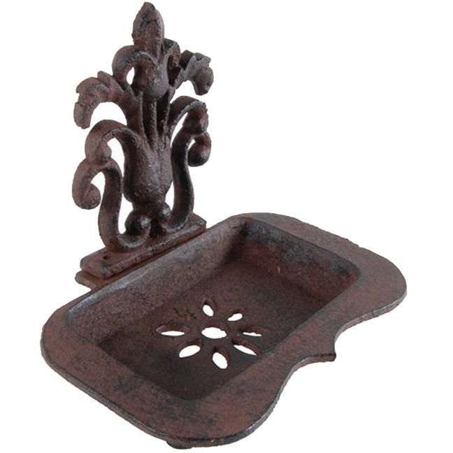 "The vintage styling of this antiqued iron soap dish make it an easy piece to place.   Has holes in the basin so liquids don't build up in the dish.brbrliDimensions: 5.51""w x 4.53""d x 6.3""hli..."