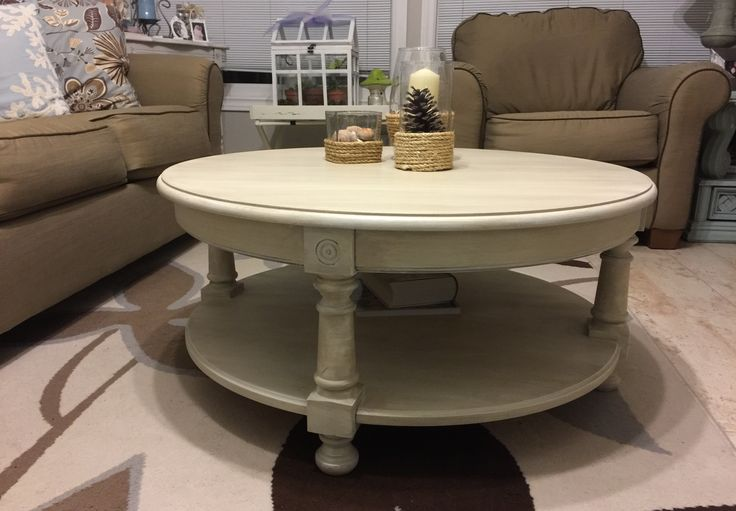 Coffee table painted with a DIY chalk paint.