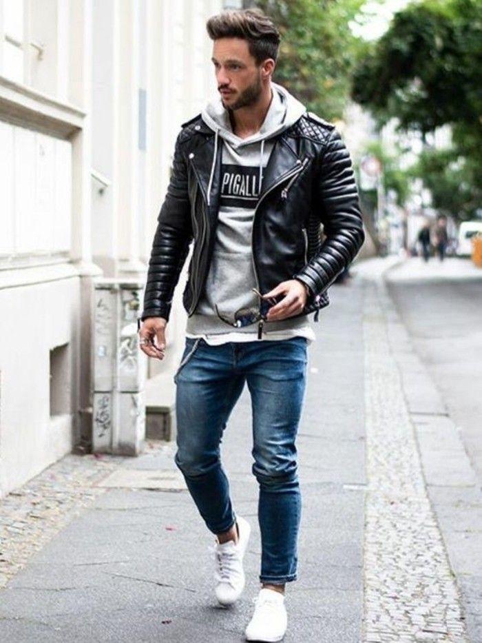 jeans homme en bleu, sneakers blancs, blouson bombers en cuir noir