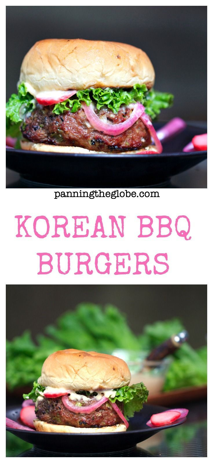 KOREAN BBQ BURGERS with PICKLED RADISHES, ONIONS, AND MISO ...