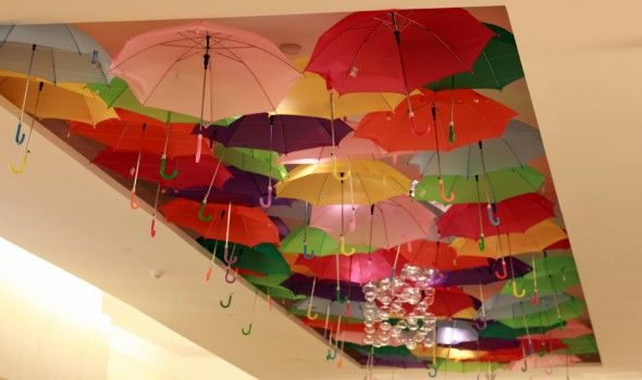 Umbrella ceiling decor looking up ceiling decor for Decor umbrellas