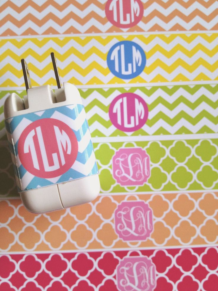 DIY Monogram iPad Charger : good idea for all charges, print pretty labels with item name not monogram (camera, cell phone, etc).