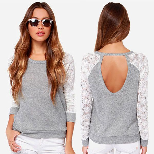 Vogue New Women Casaul Long Sleeve Backless Blouse Tops T Shirt US Size XXS-L #Unbranded #Blouse #Casual
