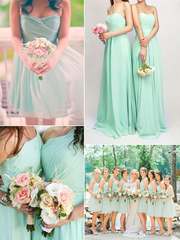 Fresh mint chiffon bridesmaid dresses trends for spring summer wedding