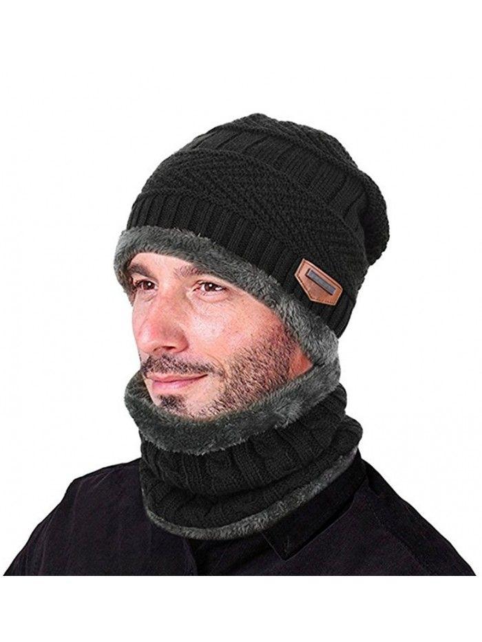 5bd1efc2e45eb Winter Thick Beanie Hat Scarf Set Slouchy Warm Snow Knit Skull Cap