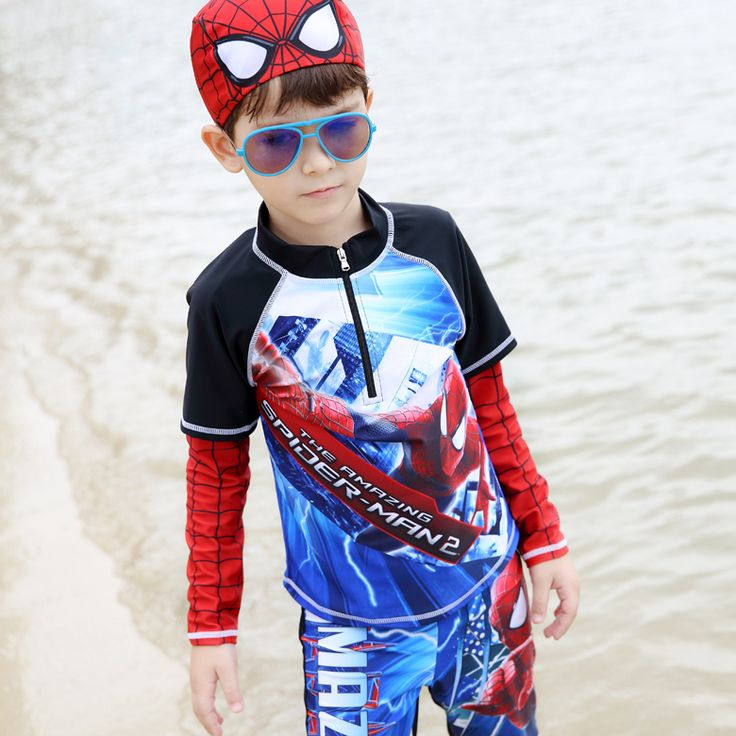 2016 New Spider-Man Boys Two Pieces Swimsuit High Qualith Anti-UV Children Swimwear +swimming Cap Summer Bathing Suit