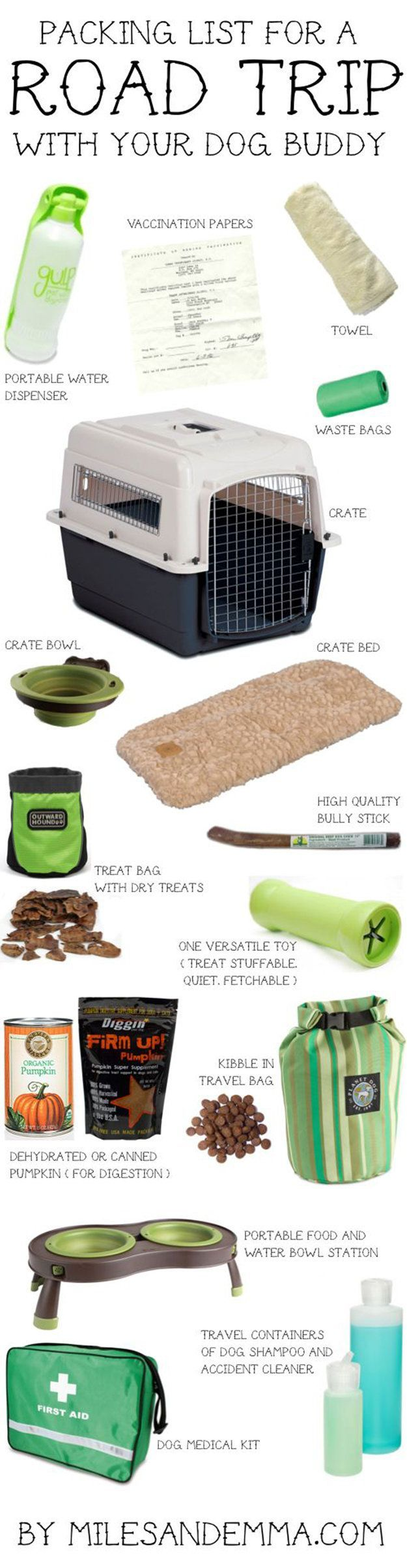 DIY Road Trip Ideas For Your Pet -- rest of the list is about other DIY road trippy stuff, but this image is a good reminder of some basics and suggests some cool-looking products that I think I want to look into for the kids