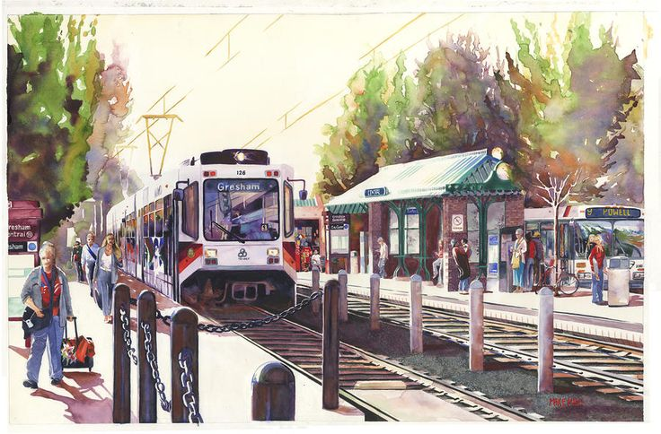 Local Artist Mike Hill does a wonderful job capturing Gresham with his beautiful watercolors. See more of his work here: http://fineartamerica.com/profiles/mike-hill.html