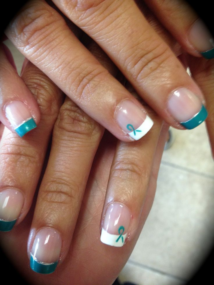 teal/french with a ribbon for ovarian cancer awareness