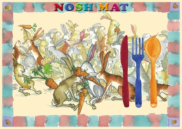 Tons of Bunnies Nosh Mat: place mat for kids. Visit our Etsy Store: www.etsy.com/shop/KidsinBooks