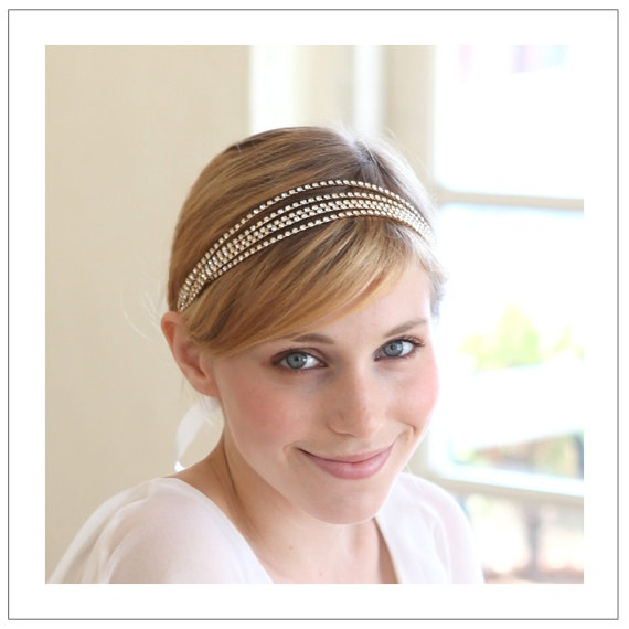 $120.00--5 strands crystal chain headband - available in gold and silver