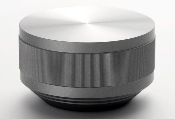 the minimalist design of 'vol', a portable speaker created by japanese designer hironao tsuboi for kent of british american tobacco, is structured for intuitive use. composed of aluminum, the speaker is switched  on and off by turning the dial; volume adjust is accomplished in the same manner.